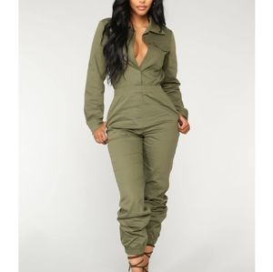 Aviator Babe Olive Green Jumpsuit